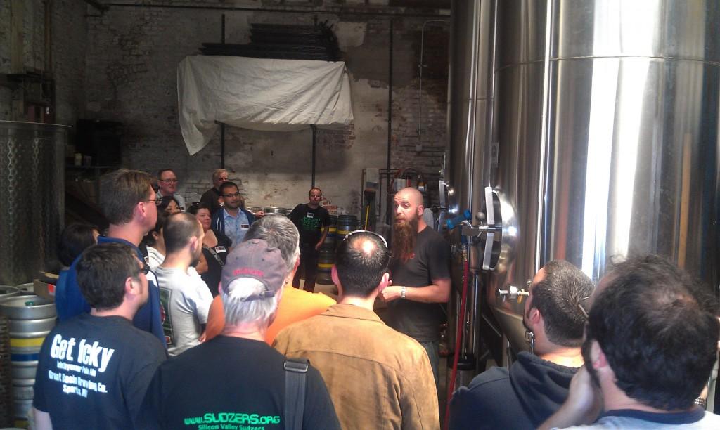 Adam Lamoreaux, Linden Street Brewer/Owner gives a tour
